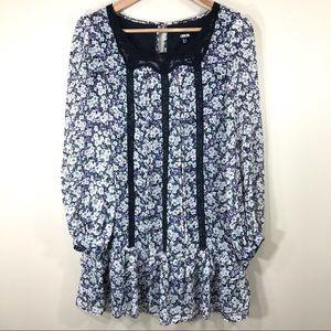 Asos floral long sleeves boho dress, size 2